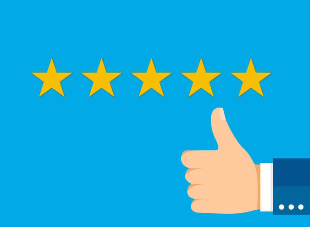 五つ星評価のグッドサイン