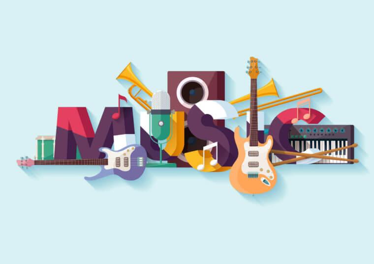 様々な楽器を寄せ集めて作られた「MUSIC」の文字