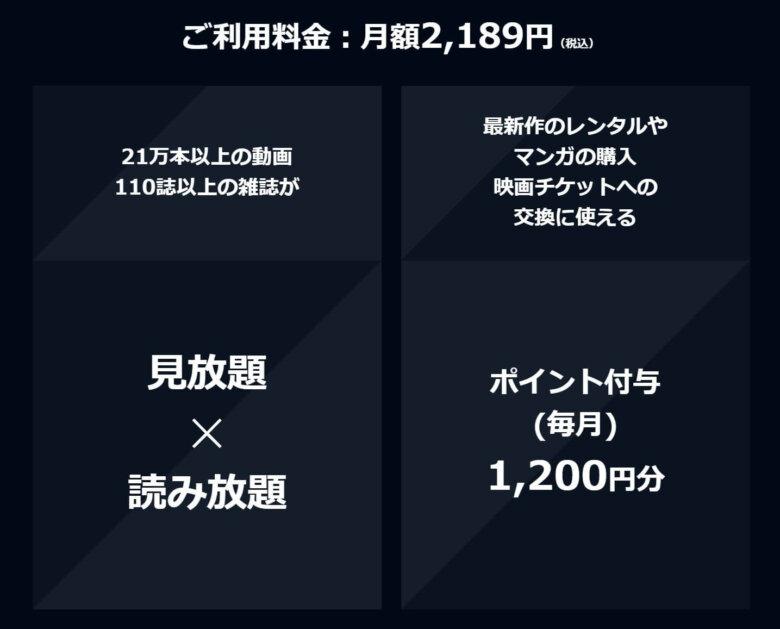 U-NEXT月間プラン料金体系
