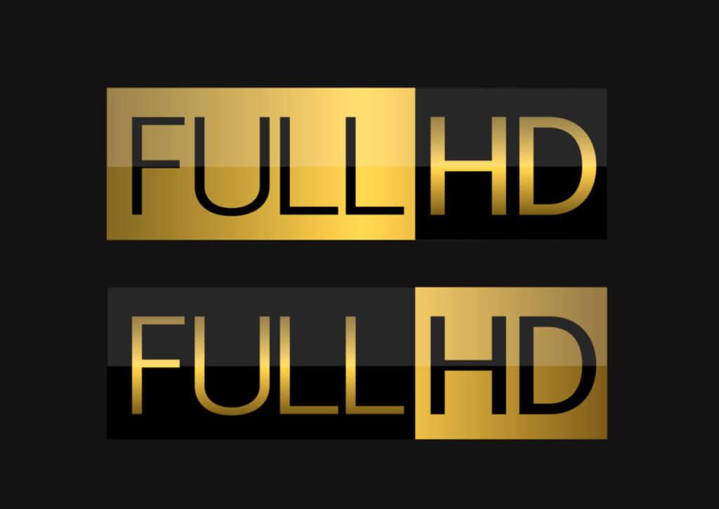 金色と黒色で表現したフルHDの文字